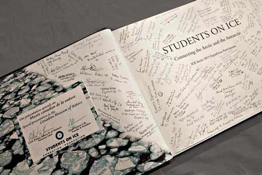 Pat and Rosemarie Keough tome ANTARCTICA with two custom pages signed by Prince Albert of Monaco, Students On Ice Founder Geoff Green and 200 staff and teenagers of SOI 2015.